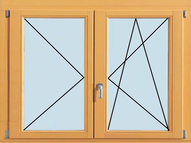 Деревянное окно с поворотной и поворотно-откидной створкой