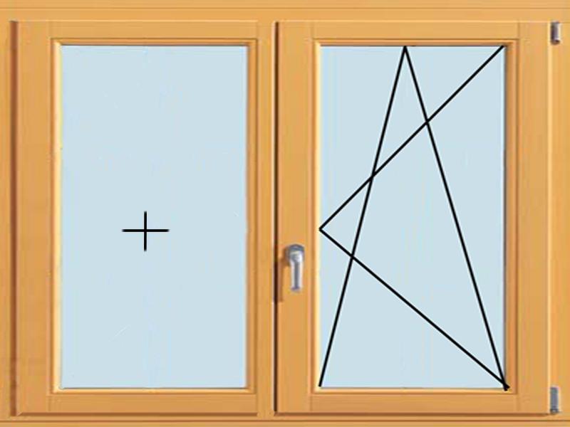 Деревянное окно с глухой и поворотно-откидной створкой
